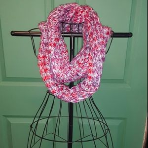 Pink, Gray, and White Infinity Scarf